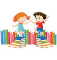 boy and girl dancing on books vector image vector image