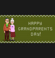 cartoon loving elderly couple embrace on green vector image vector image
