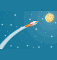 cartoon rocket in sky full moon in night sky vector image vector image