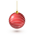 christmas tree shiny red ball new year decoration vector image vector image