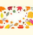 color autumn leaves with white frame copyspace vector image vector image