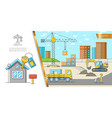 colorful construction site concept vector image