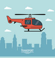 colorful poster of air transport with helicopter vector image vector image