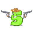 cowboy character number five at wooden door vector image vector image