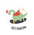 cute diplodocus dino having fun at snowboard vector image