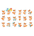 cute little foxes showing various emotions and vector image