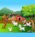 farm scenes with different animals in the farmyard vector image vector image