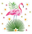 flamingo print with flowers beach wallpaper vector image vector image