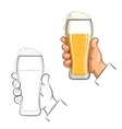 Glass of beer in hand vector image