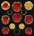 golden shields labels and laurels gold and red vector image vector image