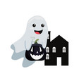 halloween house and ghost pumpkin vector image