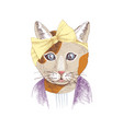 hand drawn portrait of funny cat with accessories vector image