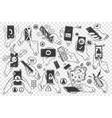 hands with smartphones doodle set vector image