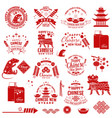 happy chinese new year badge with design element vector image