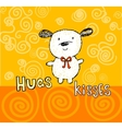 Hugs and kisses greeting card with cute puppy vector image vector image