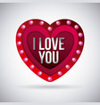 i love you heart glowing lights board vector image