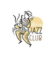jazz club logo vintage music label with vector image vector image