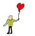 man holding a balloon in the form of heart vector image