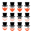 Man in hat with ginger beard and glasses icons set vector image vector image