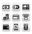 Money atm - cash mashine buttons set vector image vector image