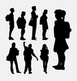People going to school silhouettes vector image vector image