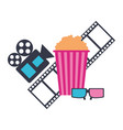 production movie film popcorn projector 3d glasses vector image