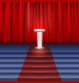 Scene with curtain tribune and stairs covered red vector image