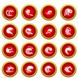 Sea waves icon red circle set vector image