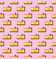 seamless pattern of smiling kawaii style cake with vector image vector image