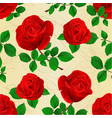 seamless texture buds red roses with leaves vector image vector image
