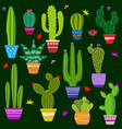 set cute cactus and succulents in pots vector image vector image