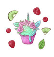 set ice cream unicorn kiwi raspberry vector image