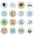 set of 16 eco icons includes sun clock ocean vector image vector image