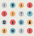 set simple beverage icons vector image