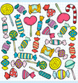 sketch colored candies and lollipops pattern vector image vector image