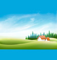 summer nature landscape with village house green vector image