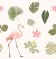 tripical pattern wiht flamingo vector image vector image
