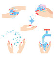 washing woman hands set vector image