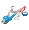 wrench tap and adhesive tape vector image