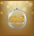 xmas ball with golden background with ball vector image vector image