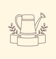 vintage watering can with ribbon emblem vector image