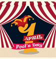 april fools day 1 number hat carnival vector image vector image