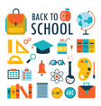 back to school flat design icons set isolated on vector image