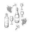 bottles wine glasses and grape sketches vector image