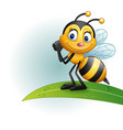 cartoon bee standing on a leaf vector image