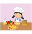Cartoon little girl baking vector image
