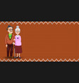 cartoon loving elderly couple on orange fabric vector image vector image
