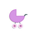 checkered pink baby girl stroller sticker or icon vector image vector image