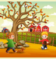 children playing in farm vector image vector image