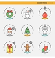 Christmas and Happy New Year 2017 Thin Line Icons vector image vector image